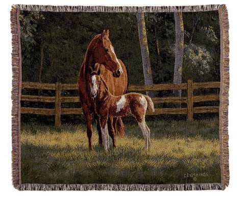 Simply Home TPM906 Josie Horses Throw Blanket Tapestry - Blankets & Bedding - Fits My Budget