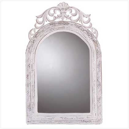 Arched-Top Wood Frame Vintage-Look French Country Wall Mirror 10031586 Free Shipping - House Home & Office - Fits My Budget