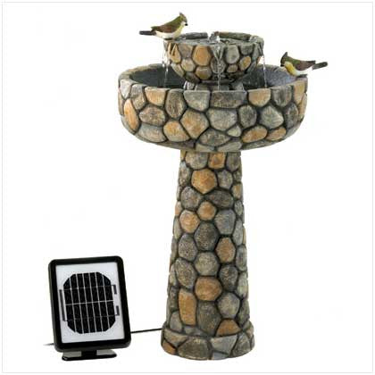 Wishing Well Rustic Solar Garden Water Fountain Birdbath 10012841 Free Shipping - House Home & Office - Fits My Budget