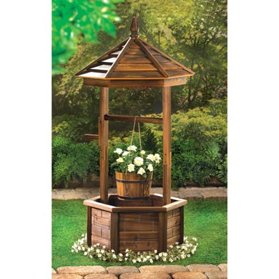 Rustic Wishing Well Natural Wood Garden Flower Planter 14652