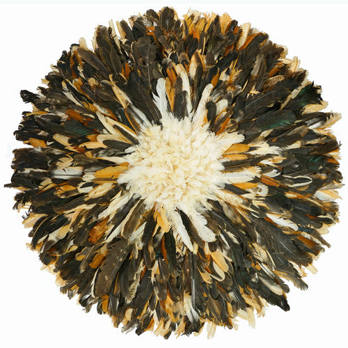 juju hat juju hats Pheasant Mixed Brown with White Center color african juju hat wall decor feather headdress for sale cameroon wall hanging bamileke hat