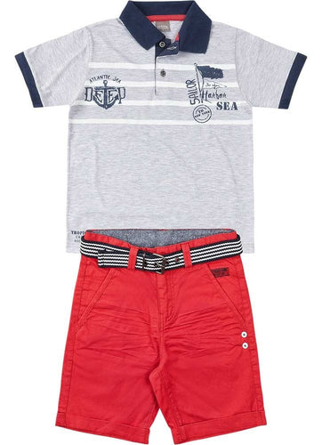 Polo and Belted Shorts Set