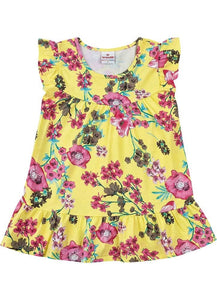 Ruffle Hem Flower Dress
