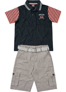 Polo & Belted Shorts Set