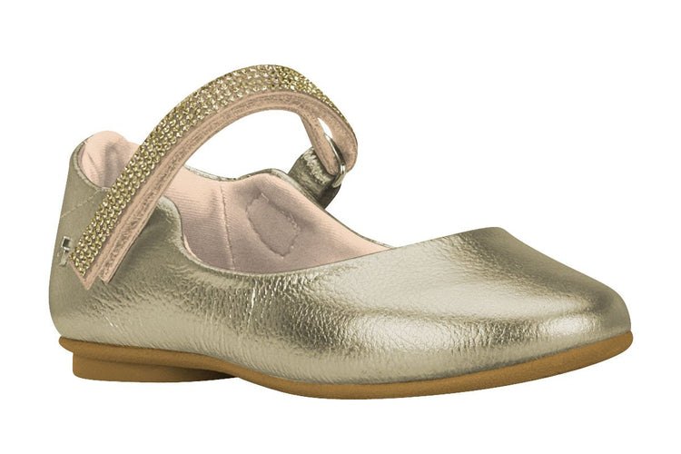 Girls Crystal Embellished-Strap Mary Jane in Gold (Sizes 9.5 Little Kid - 2.5 Big Kid)