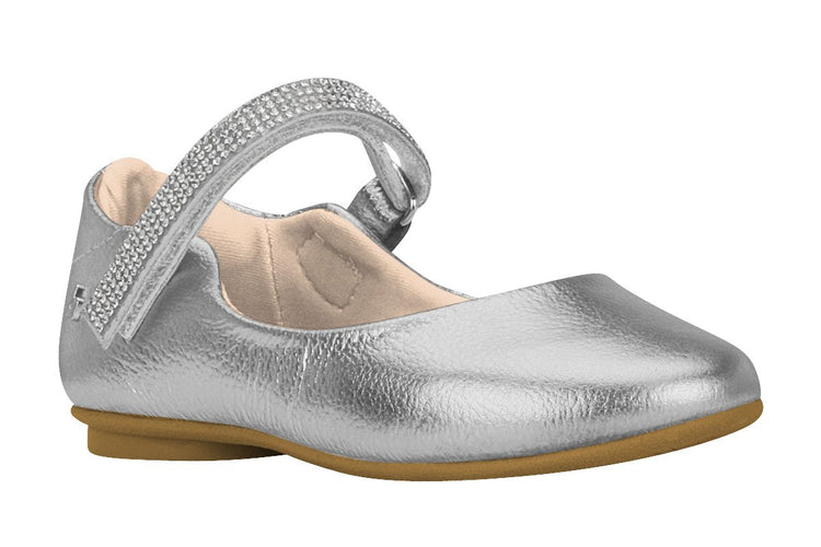 Girls Crystal Embellished-Strap Mary Jane in Silver (Sizes 9.5 Little Kid - 2.5 Big Kid)