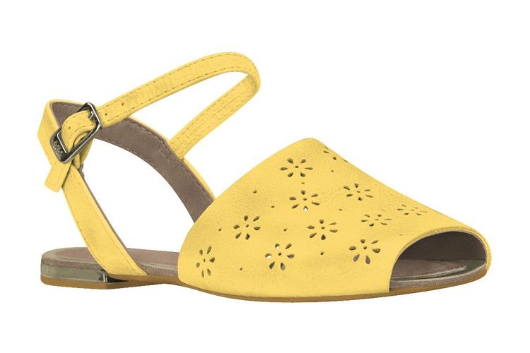 "Girls ""Sunshine"" Perforated Sandal in Yellow (Sizes 11.5 Little Kid - 6.5 Big Kid)"