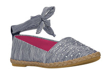 "Girls ""Joy"" Espadrilles in Striped Blue Canvas (Sizes 4 Toddler - 5 Big Kids)"