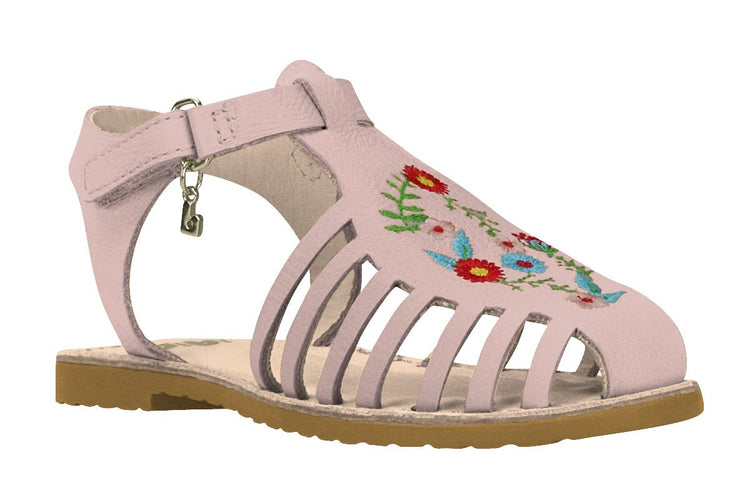 Girls Flower Embroidery Sandal in Pink (Sizes 9.5 Little Kid - 5 Big Kid)
