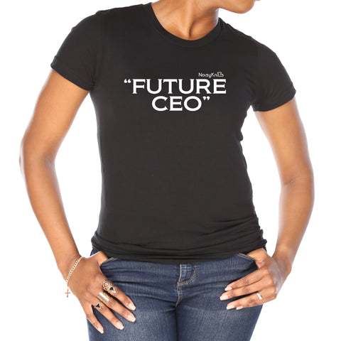 "Women's black cotton t-shirt with white letters saying ""future CEO"" - Noisy Knits T-Shirt Company"