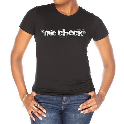 "Women's black cotton t-shirt with white letters saying ""mic check"" - Noisy Knits T-Shirt Company"