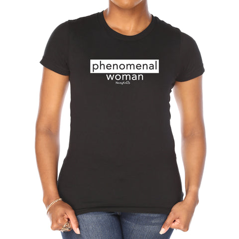 "Women's black cotton t-shirt with white letters saying ""phenomenal woman"" - Noisy Knits T-Shirt Company"