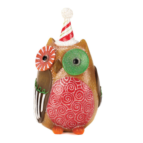 Candy Cane Hat Owl Decor