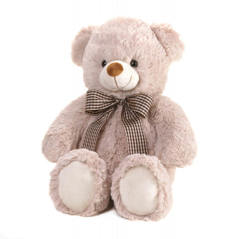 'Beige Bear With Bow Plush 18'''