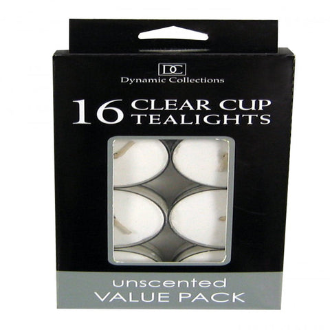 16pk Clear Cup Tealights - White
