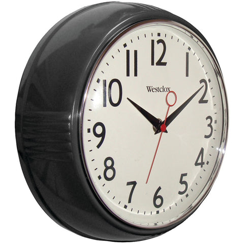 "'Westclox 9.5"" 1950''s Retro Black Case Convex Glass Clock'"
