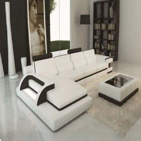 Luxury Polaris White And Black Contemporary Leather Sectional Sofa With LED Light - My Aashis