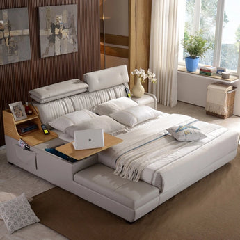 Luxury  & Stylish  Leather  Side Storage Bed  Furniture - My Aashis