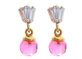 Pair of CZ Embellished Astonishing Danglers With Pink Beads - My Aashis