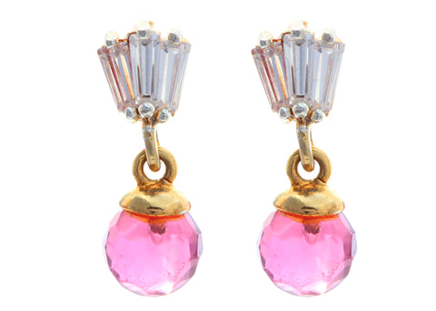 Pair of CZ Embellished Astonishing Danglers With Pink Beads