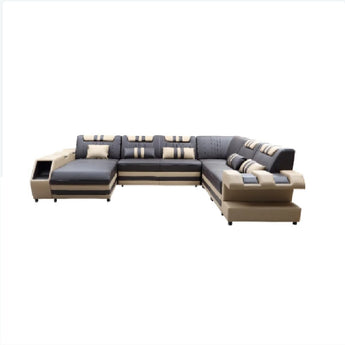 Vicenza Modern Beige Leather Sectional Sofa
