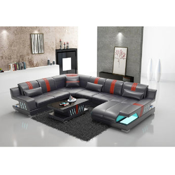 Modern Creative Leather 6 Seat Sectional Sofa - My Aashis