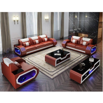 Sofa Set Leather With Adjustable Headrest - My Aashis