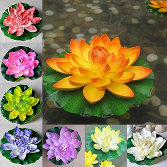 2 PC Floating Artificial Lotus Flowers Decor Floating Pond Decor Water Lily Home Decoration - My Aashis