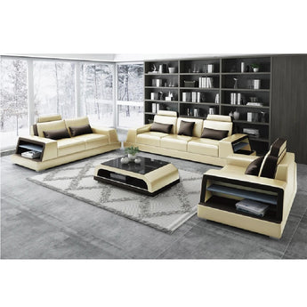 Modern Leather sofa set with side storage - My Aashis