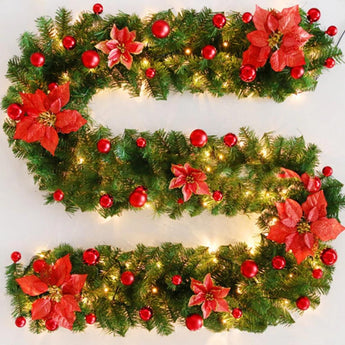 2.7m/9ft PVC 4 color Christmas Garland Artificial Pine Decorative Wreath Wall Door Stairs - My Aashis