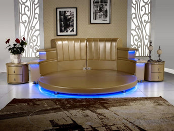 Modern Leather  King Bedroom With Led , Speaker, Round Soft Bed - My Aashis