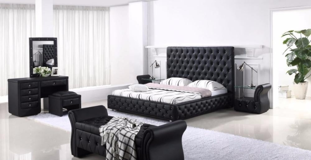 King size modern genuine leather bedroom furniture my aashis - King size contemporary bedroom sets ...