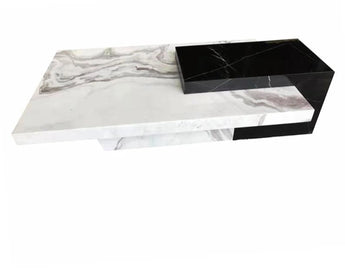 Black &  White Marble Trendy Coffee Table Furniture - My Aashis