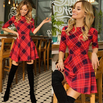 Attractive Cotton Plaid Slim Single Piece Girls Dress for Christmas - My Aashis