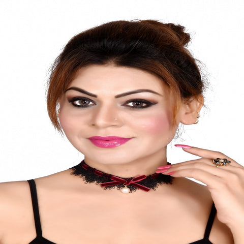 Black Choker with Teardrop-shaped With Pearl Danglers - My Aashis