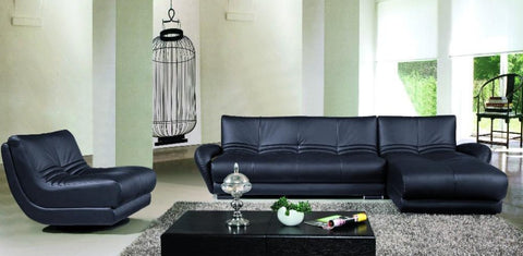 Luxury Elegant Corner Black Living Room Sofa - My Aashis