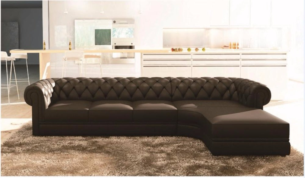 Chesterfield - Luxury Black Upholstered L-Shaped Sofa - D – My Aashis