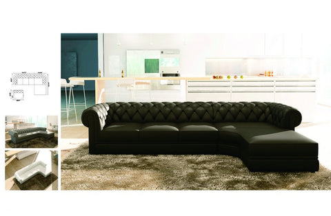 Chesterfield - Luxury Black Upholstered L-Shaped Sofa - D - My Aashis