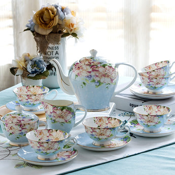 21 Piece Vintage Bone China Tea Set, Tea cups, Tea Pot, Creamer and Sugar Set, Gift box - My Aashis