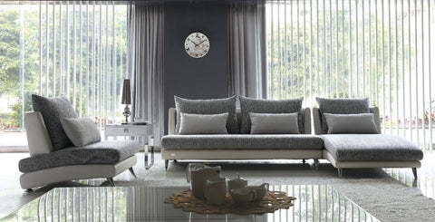 Luxury Gray Palms Fabric Sectional Sofa - Chaise - My Aashis