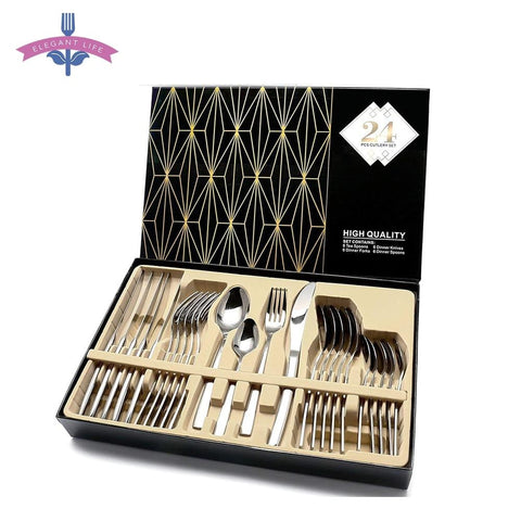 24 PCS  Precious  Silver  Cutlery Set  For Kitchen Decor - My Aashis