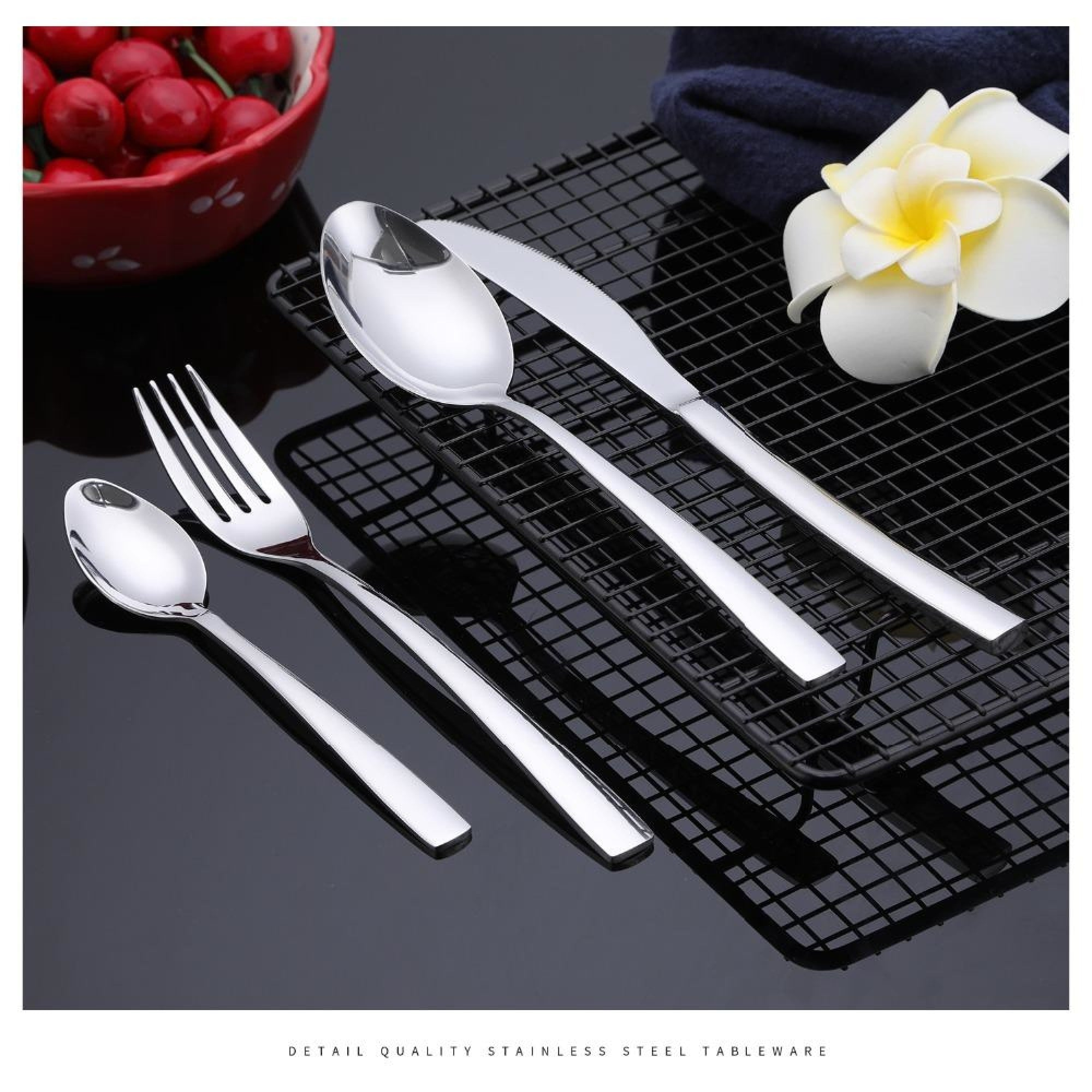 25 Pc Red Flatware Set 24 Stand DECORATIVE USE ONLY  *Free Shipping*
