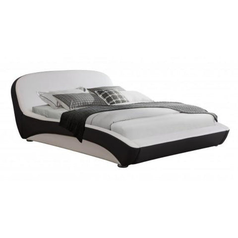 Leather Black and White Modern Platform Bed - My Aashis