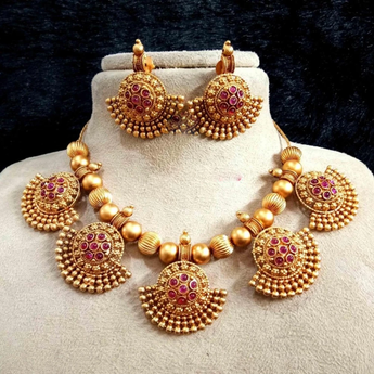 Traditional Style Gold Plated Necklace Set - My Aashis
