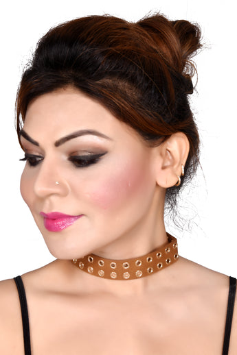 Deluxe Brown Velvet Fabric Choker Necklace - My Aashis