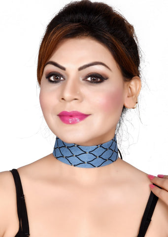 Summer Jewelry Blue Black Strip Fabric Choker Necklace - My Aashis