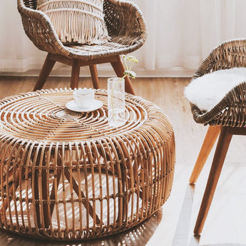 Nature-Friendly Round Rattan Coffee Table - My Aashis