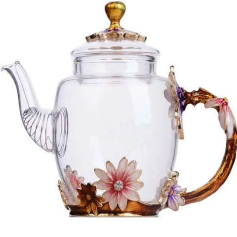 300ML Antique Glass Tea Pot 3D Flower Pot Kettle - My Aashis