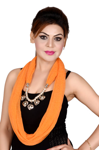 Womens Fashion Scarf w/Studded Heart-Shaped Necklace - My Aashis