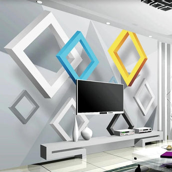 3D Abstract Geometric Murals Custom Photo Wallpaper For Walls - My Aashis